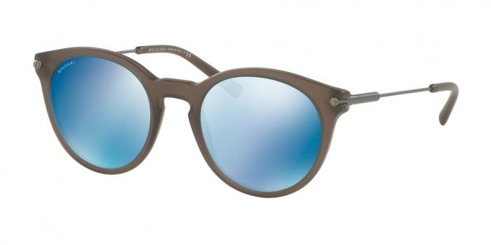 Gafas de sol Bvlgari BV7030 526255 MATTE TURTLEDOVE GREY - DARK BLUE MIRROR BLUE