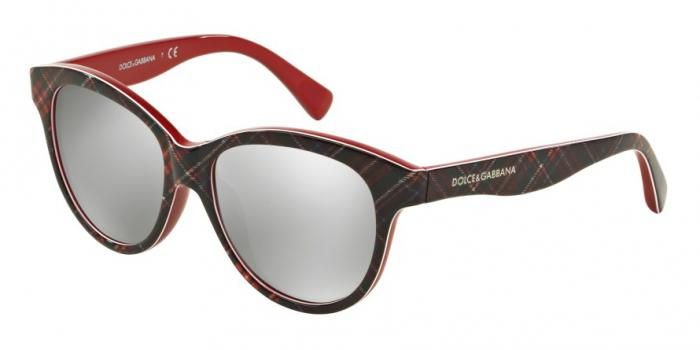 Gafas de sol Dolce & Gabbana DG4176 MATT SILK 29886G CHECK RED/BLUE/RED - LIGHT GREY MIRROR SILVER