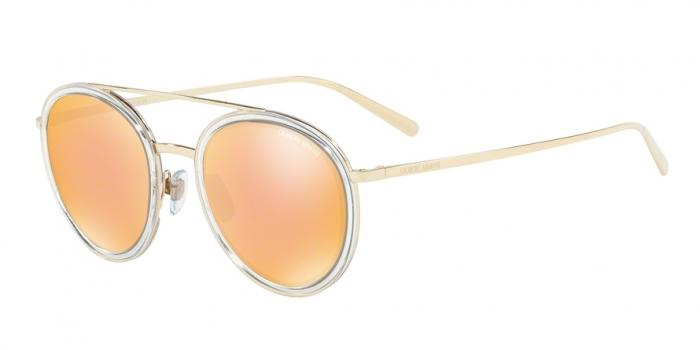 Gafas de sol Giorgio Armani AR6051 30137J PALE GOLD/CRYSTAL - ORANGE MIRROR PINK