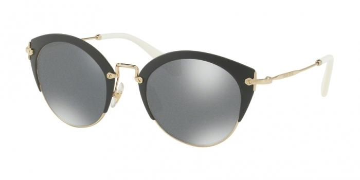 Gafas de sol MIU MIU MU 53RS TF8122 MATTE GREY/PALE GOLD - DARK GREY GLITTER MIRR INT BLU