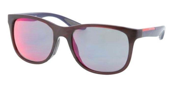 Gafas de sol Prada Linea Rossa PS 03OS SL89Q1 BORDEAUX DEMI SHINY - DARK GREY MIRROR BLUE/RED