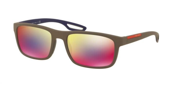 Gafas de sol Prada Linea Rossa PS 03RS UR49Q1 BROWN RUBBER - DARK GREY MIRROR BLUE/RED