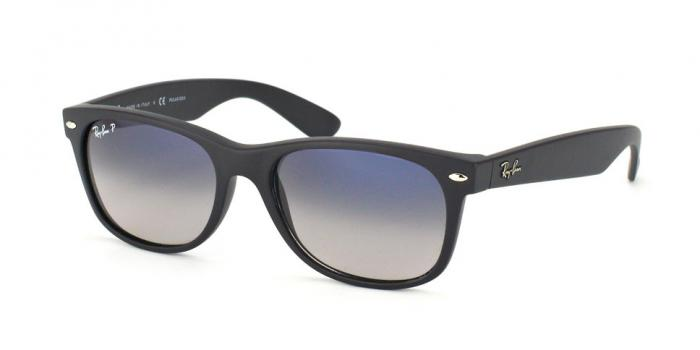 Gafas de sol Ray-Ban NEW WAYFARER RB2132 601S78 MATTE BLACK - POLAR BLUE GRAD. GREY