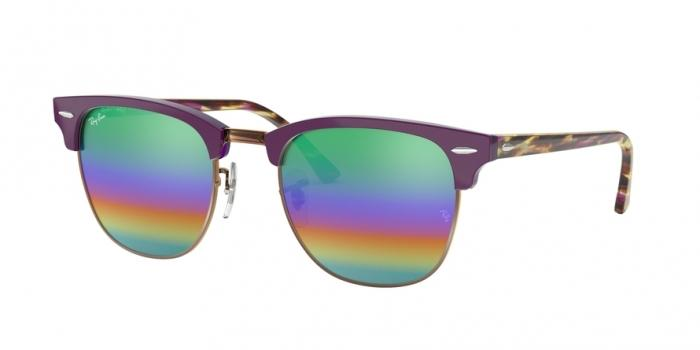 Gafas de sol Ray-Ban RB3016 CLUBMASTER 1221C3 METALLIC MEDIUM BRONZE - LIGHT GREY MIRROR RAINBOW 2
