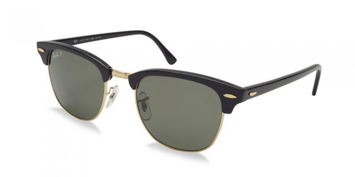 Gafas de sol Ray-Ban CLUBMASTER RB3016 901/58 BLACK - CRYSTAL GREEN POLARIZED