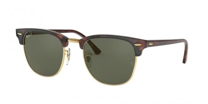 Gafas de sol Ray-Ban CLUBMASTER RB3016 990/58 RED HAVANA - CRYSTAL GREEN POLARIZED