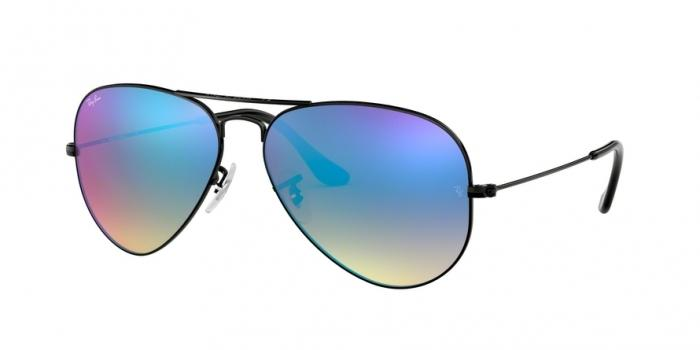 Gafas de sol Ray-Ban RB3025 002/4O SHINY BLACK - MIRROR GRADIENT BLUE
