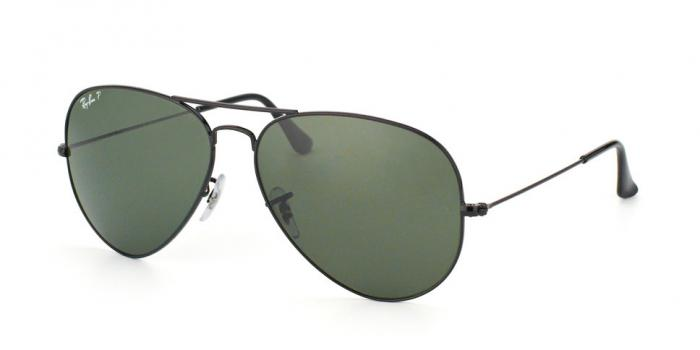 Gafas de sol Ray-Ban AVIATOR LARGE METAL RB3025 002/58 BLACK - CRYSTAL GREEN POLARIZED