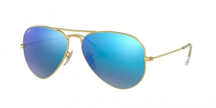 Gafas de sol Ray-Ban AVIATOR LARGE METAL RB3025 112/17 MATTE GOLD - CRY.GREEN  MIRROR MULTIL.BLUE