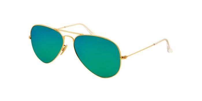 Gafas de sol Ray-Ban AVIATOR LARGE METAL RB3025 112/19 MATTE GOLD - CRY.GREEN MIRROR MULTIL.GREEN