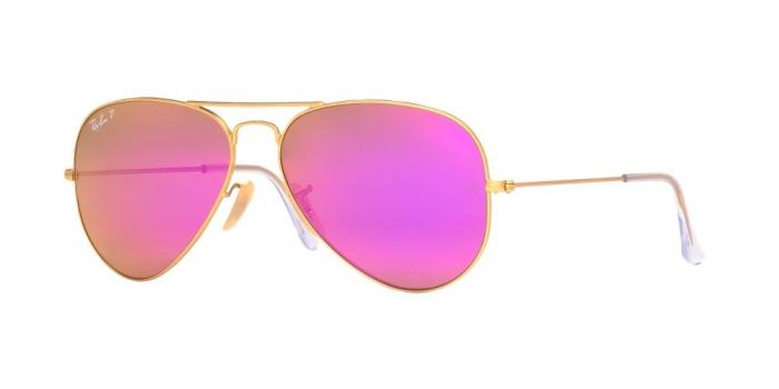 Gafas de sol Ray-Ban RB3025 AVIATOR LARGE METAL 112/1Q MATTE GOLD - BROWN MIRROR FUCSIA POLAR