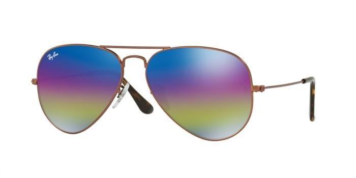Gafas de sol Ray-Ban RB3025 9019C2 METALLIC DARK BRONZE - LIGHT GREY MIRROR RAINBOW 2