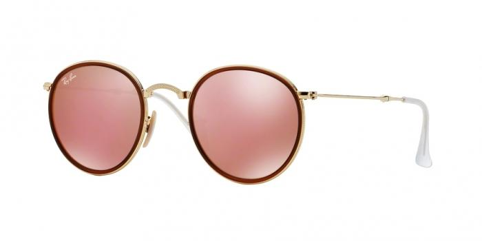 Gafas de sol Ray-Ban RB3517 ROUND FOLDING 001/Z2 GOLD - BROWN MIRROR PINK