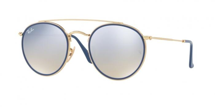 Gafas de sol Ray-Ban RB3647N ROUND DOUBLE BRIDGE 001/9U GOLD - GRADIENT BROWN MIRROR SILVER