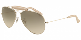 Gafas de Sol Ray-Ban AVIATOR CRAFT RB3422Q 003/32 SILVER/DIRTY WHITE LEATHER - CRYSTAL GREY GRADIENT