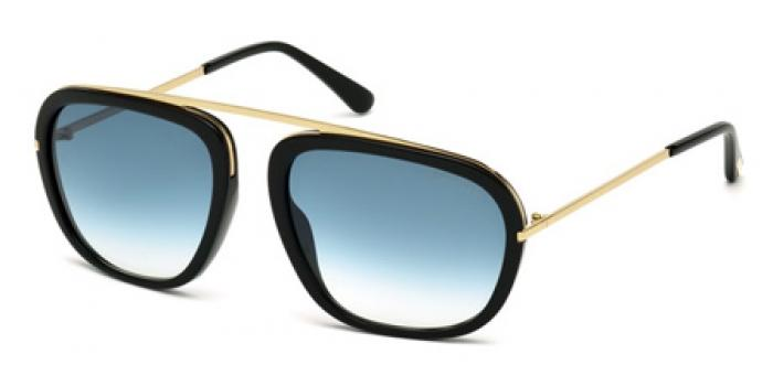 Gafas de sol Tom Ford FT0453 JOHNSON 01P negro brillo / verde