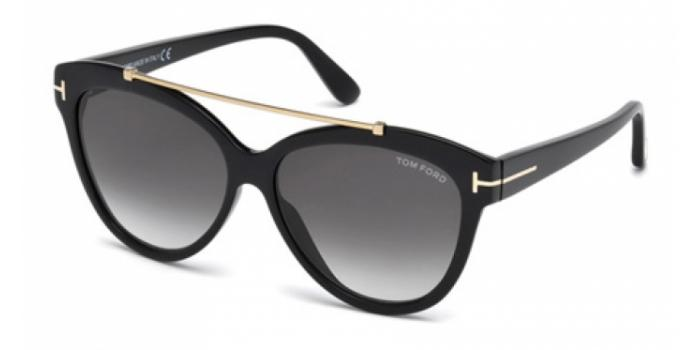 Gafas de sol Tom Ford FT0518 LIVIA 01B negro brillo / gris
