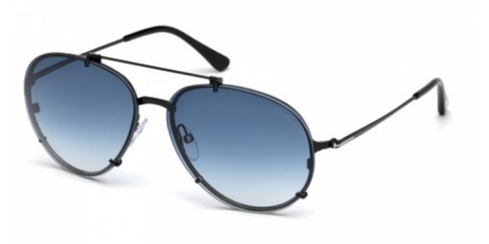Gafas de sol Tom Ford FT0527 DICKON 01W negro brillo / azul