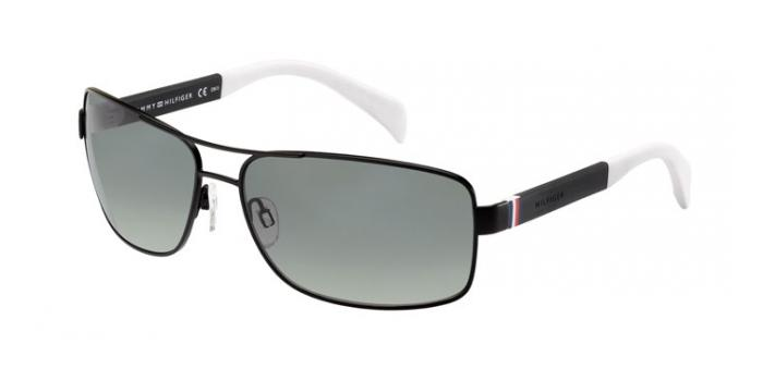 Gafas de sol Tommy Hilfiger TH 1258/S 4NL (WJ) MATTE BLACK/WHITE / GREY SHADED POLARIZED