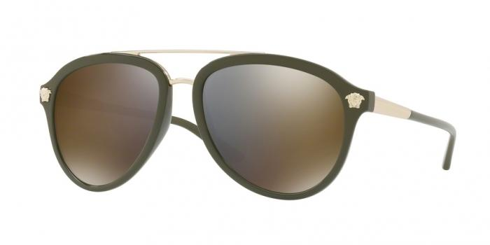 Gafas de sol Versace VE4341 52624T MILITARY GREEN - DARK GREY MIRROR GOLD